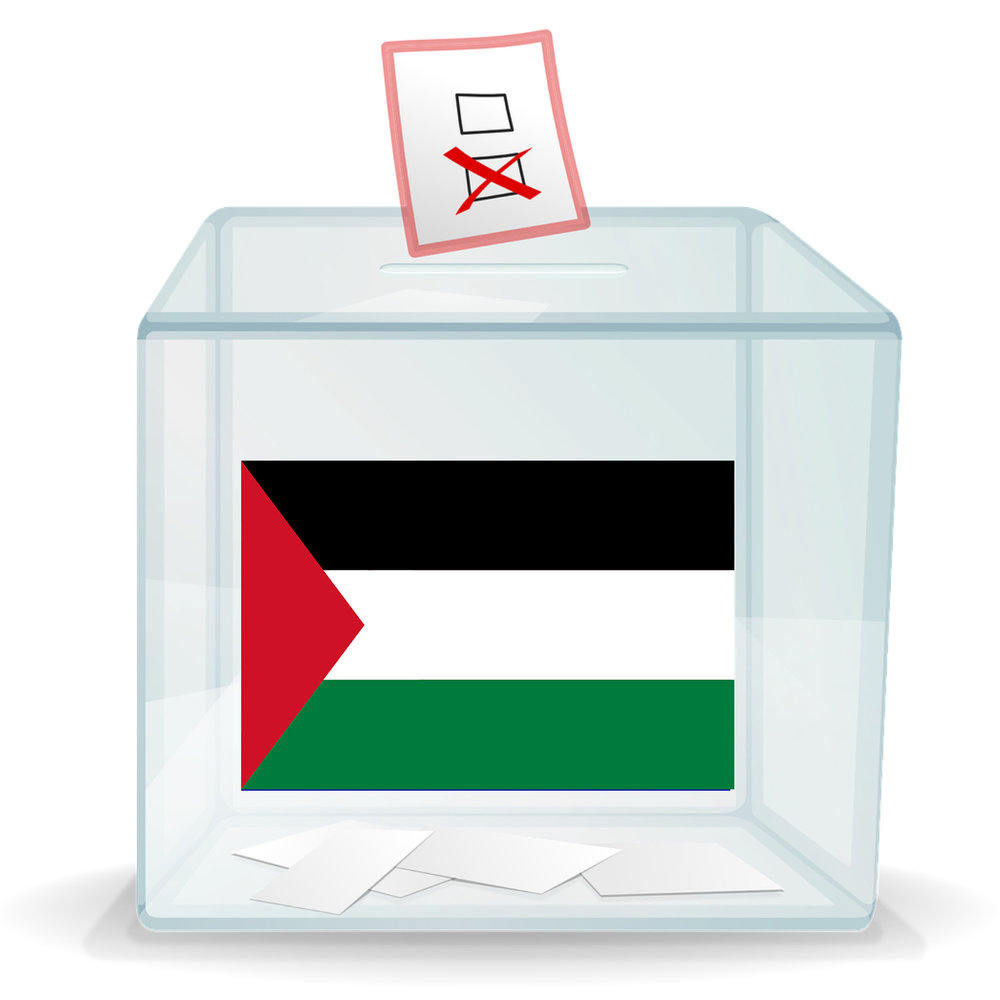 Ballot box with Palestinian flag