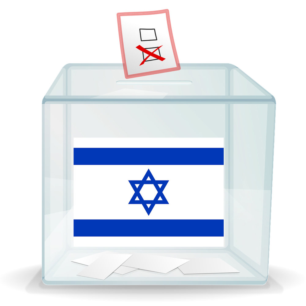 Ballot box with Israeli flag on it