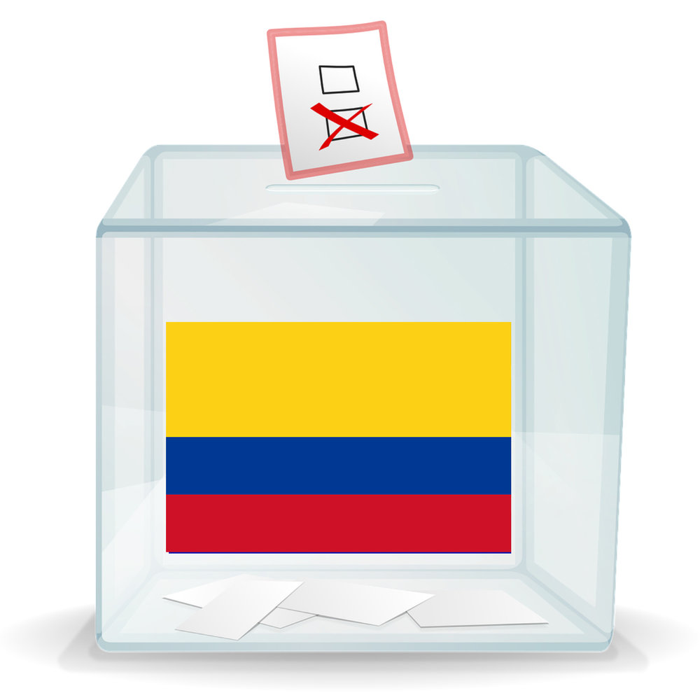 Ballot box with Colombia flag on it