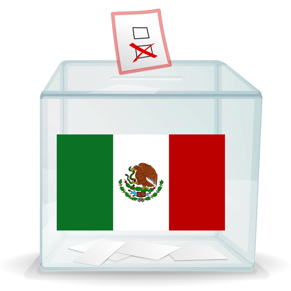 A ballot box with a Mexican flag on it.