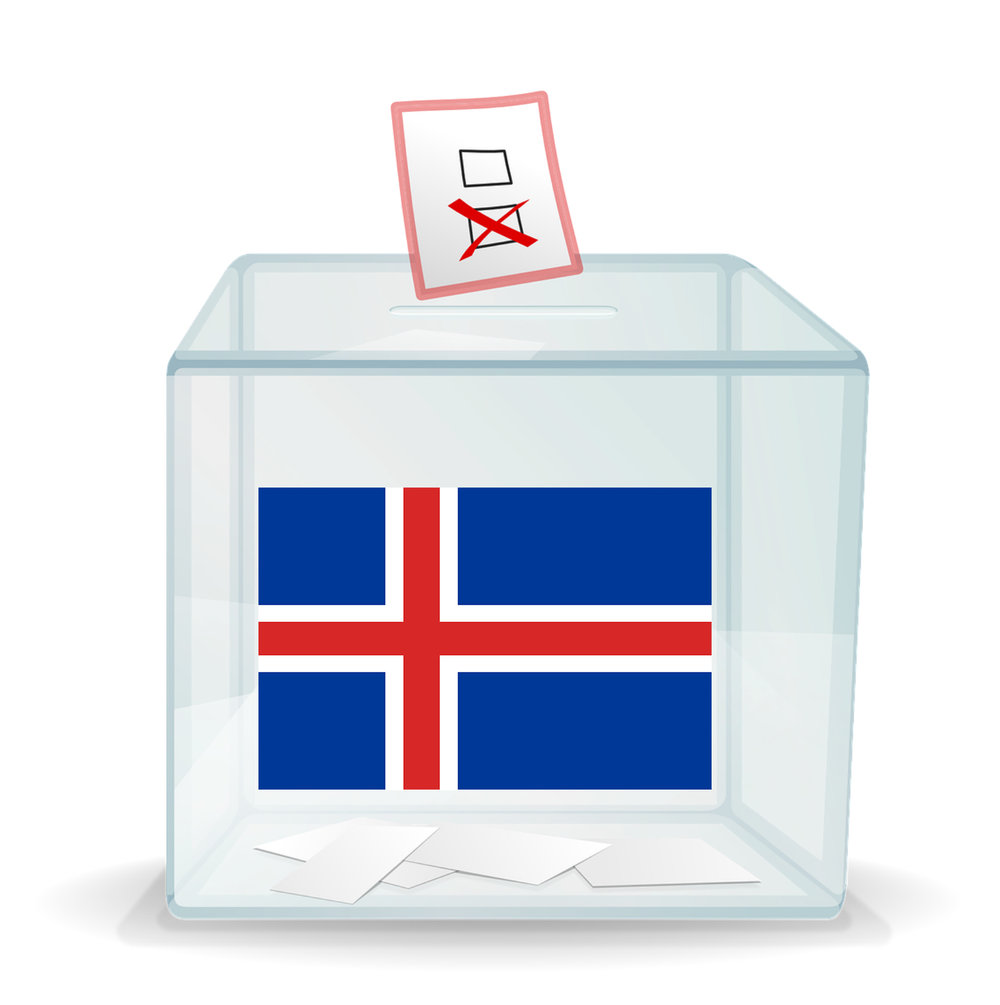 Ballot box with Icelandic flag on it