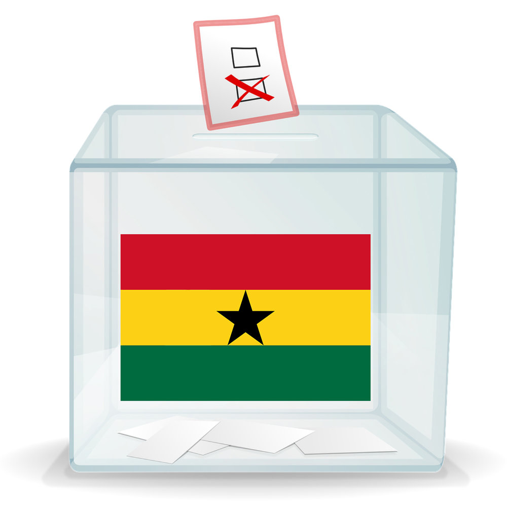 Ballot box with image of Ghana flag on it
