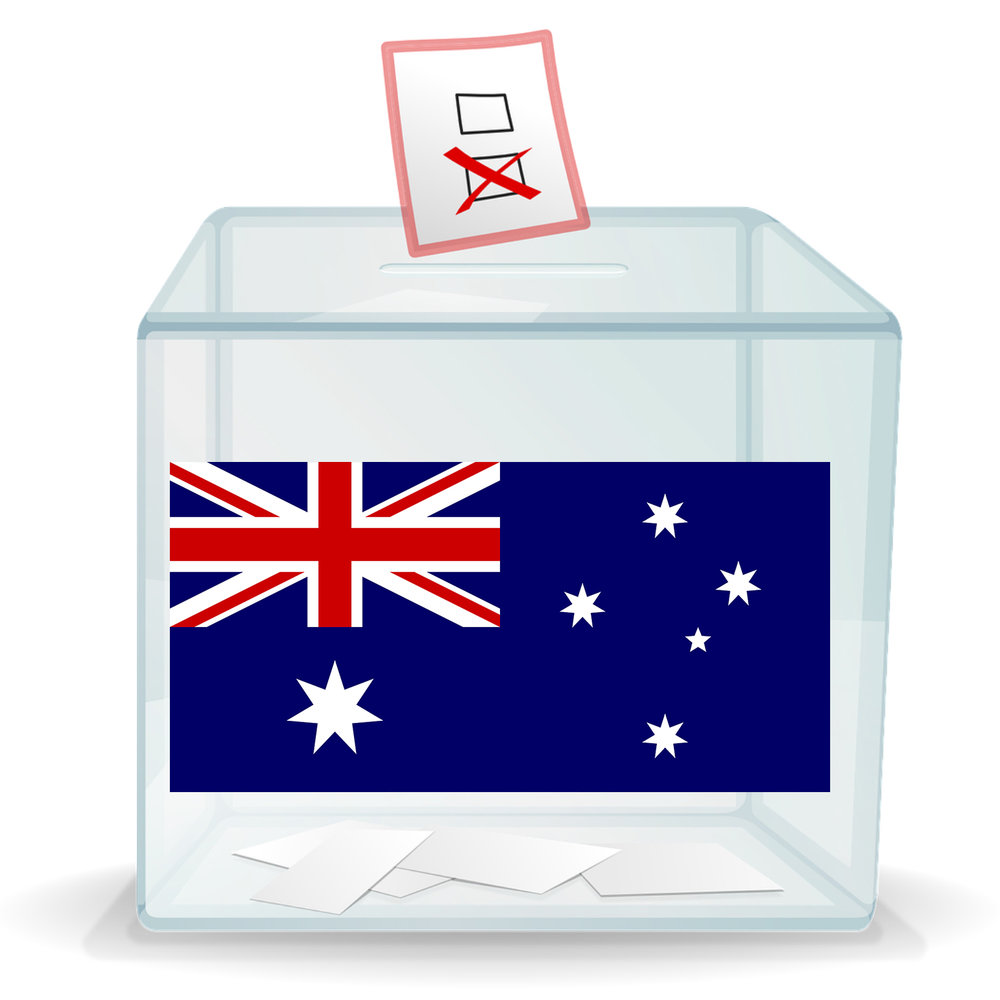 Ballot box with Australian flag on the side