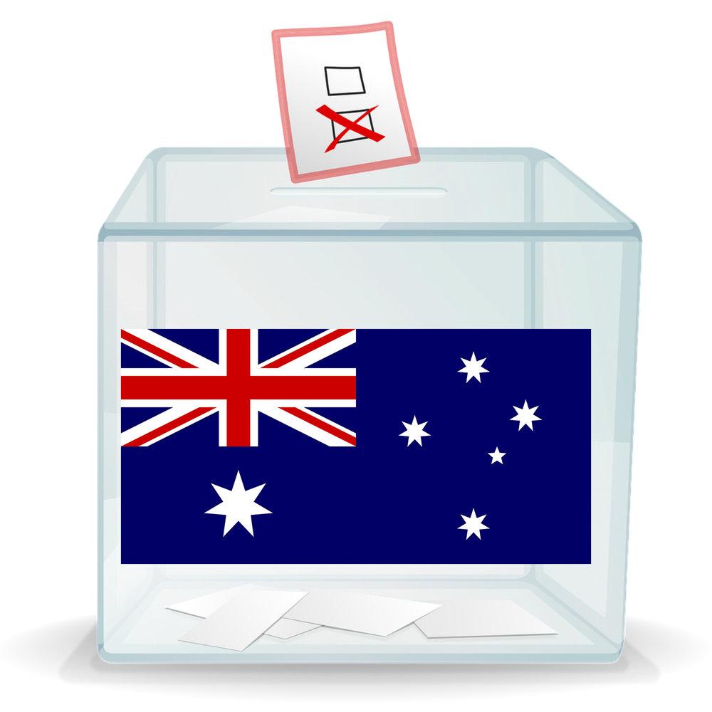 Ballot box with Australian flag on the side