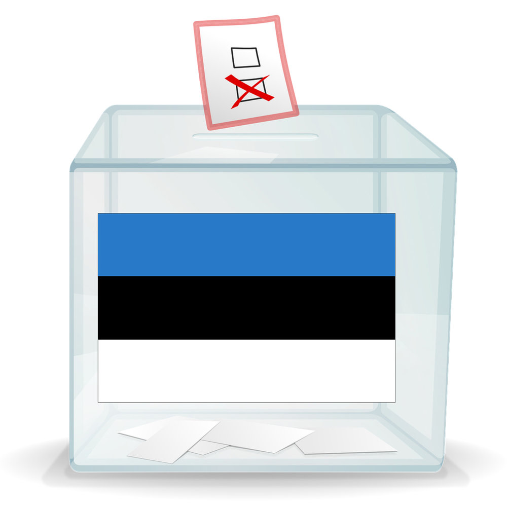 Ballot box with the Estonian flag on the side