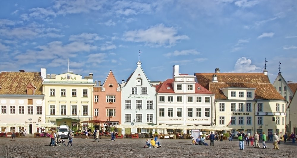 The city of Talinn, Estonia with cobblestone streets.