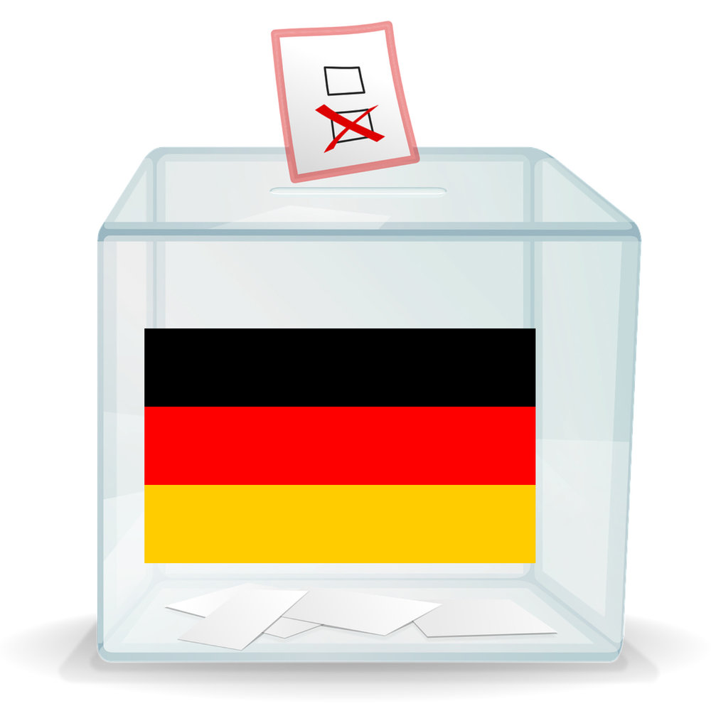A ballot box with a German flag on it.