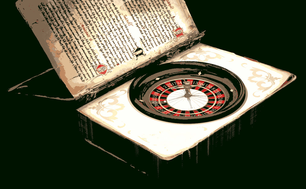 A book opened up with a roulette wheel inside.