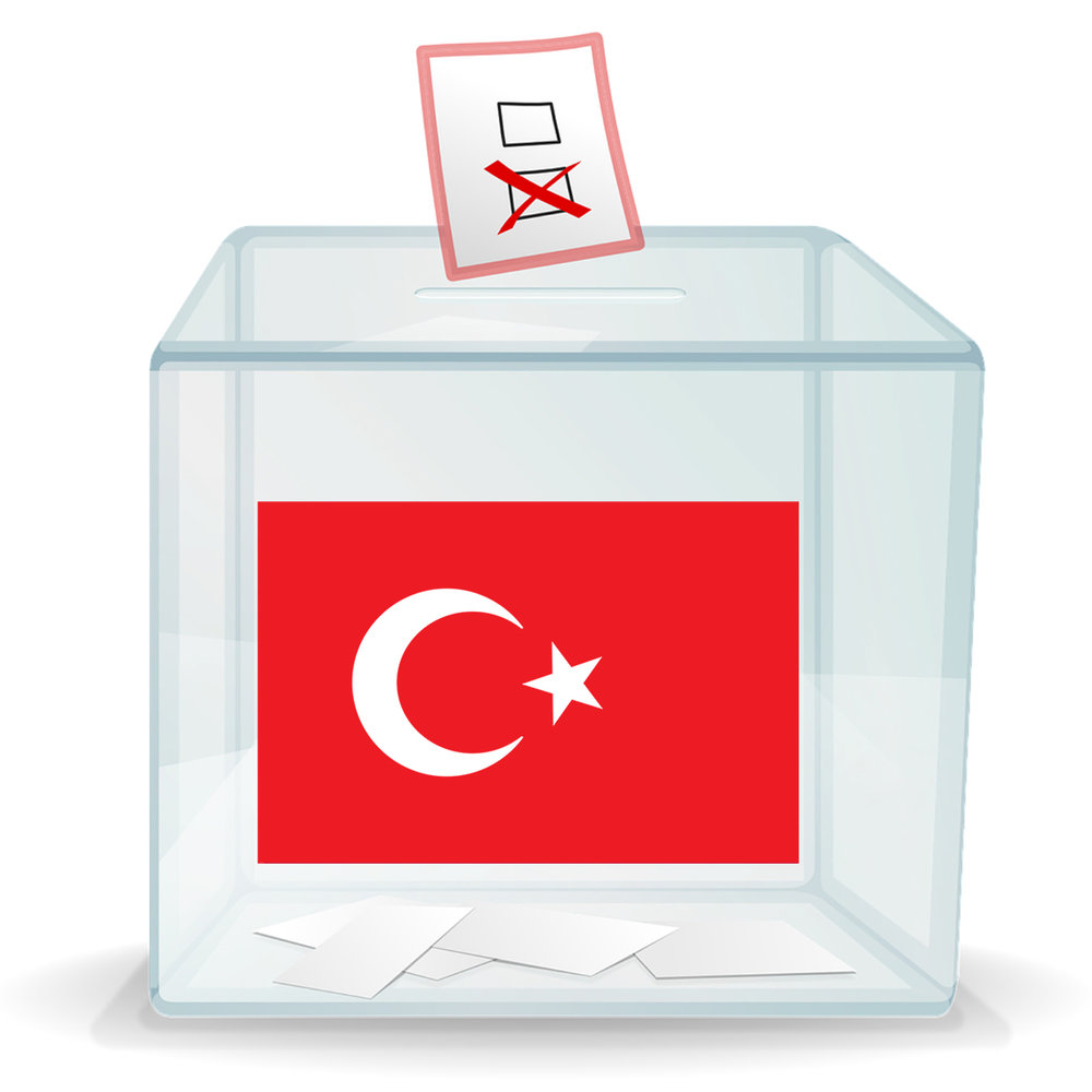 Ballot box with a Turkish flag on the front