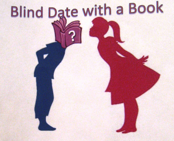 "A silhouette of a girl bending forward to kiss a boy who has a book with a question mark for his head. The title above both says, ""Blind Date with a Book."""
