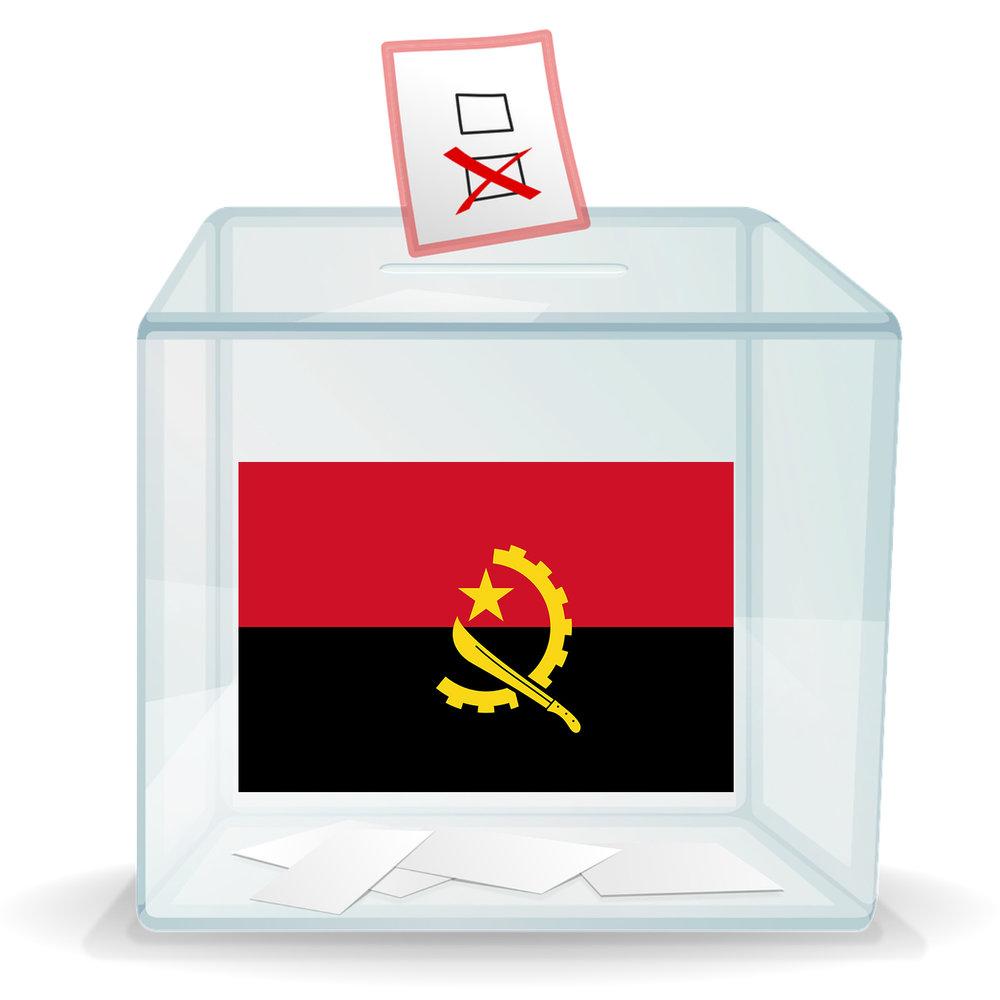 Ballot box with Angolan flag