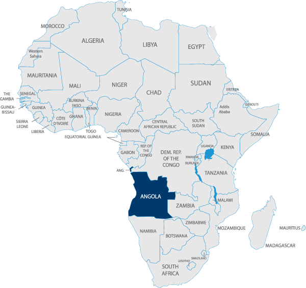 A map of Africa with Angola highlighted.