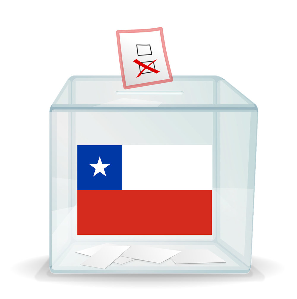 Ballot box with Chilean flag on the front