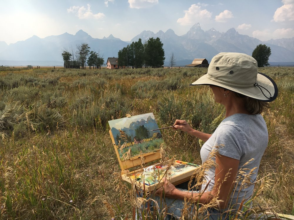 Heike Talbert Plein Air Painting - Morman Road Jackson Hole  August 2016