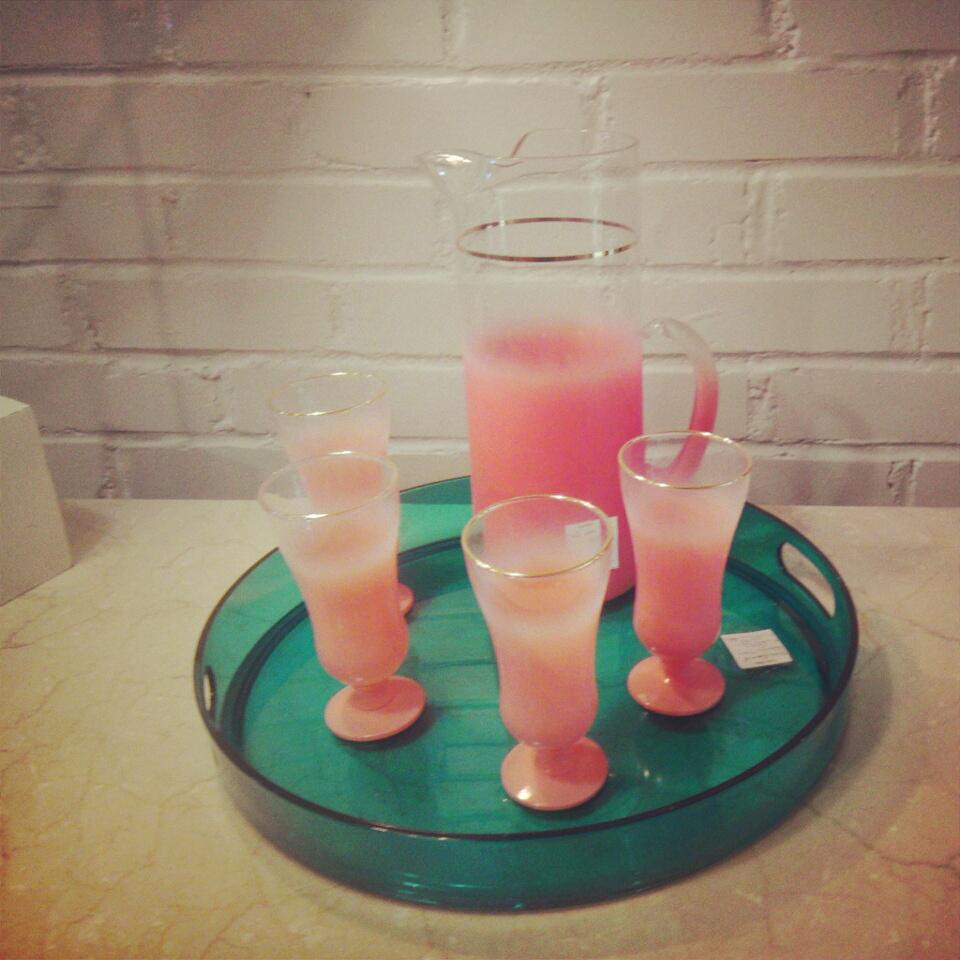 vintage, tumbler, tray, set, patio, pink, turquoise