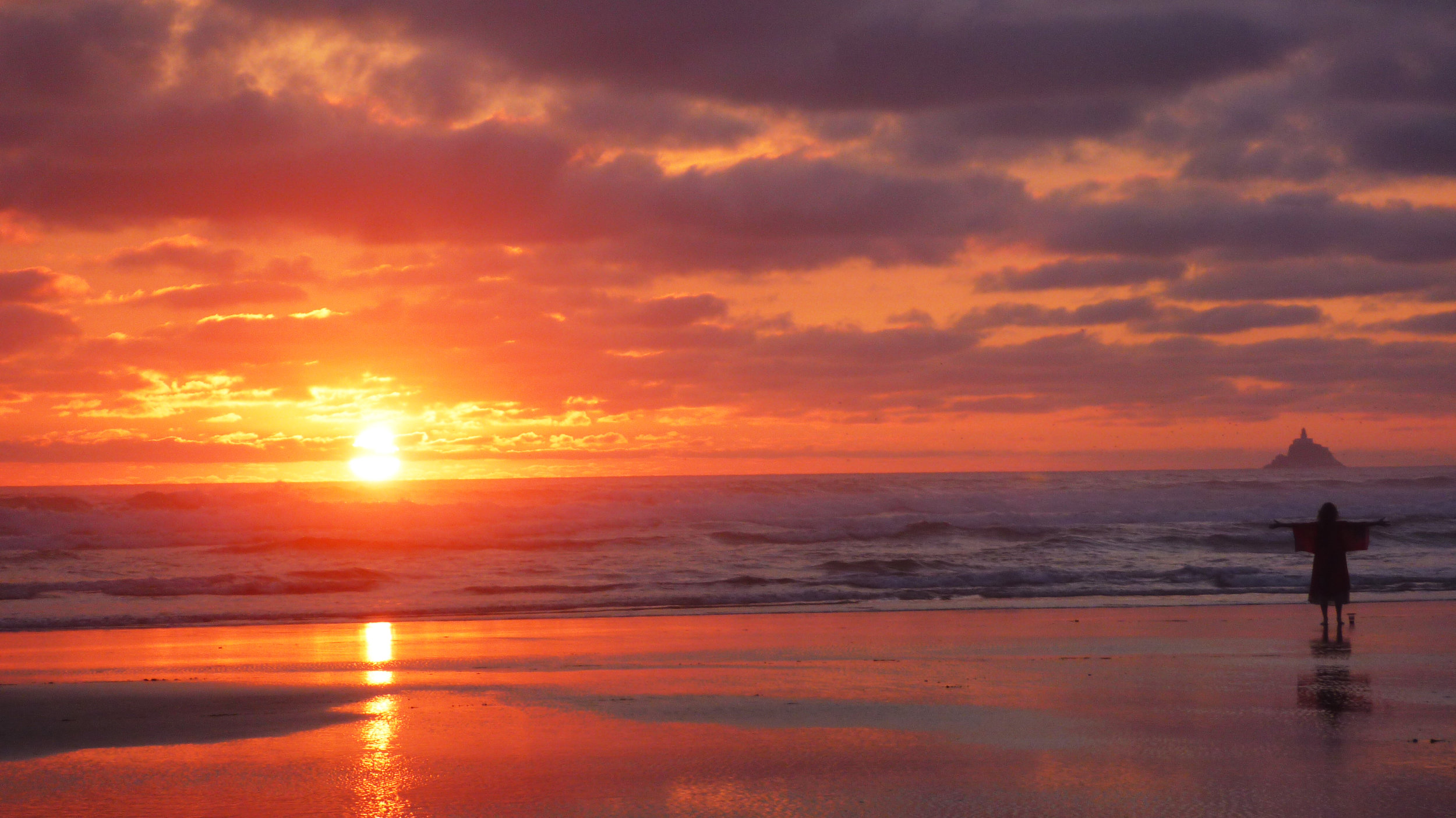 sunset, road trip, cannon beach, oregon, free, explore