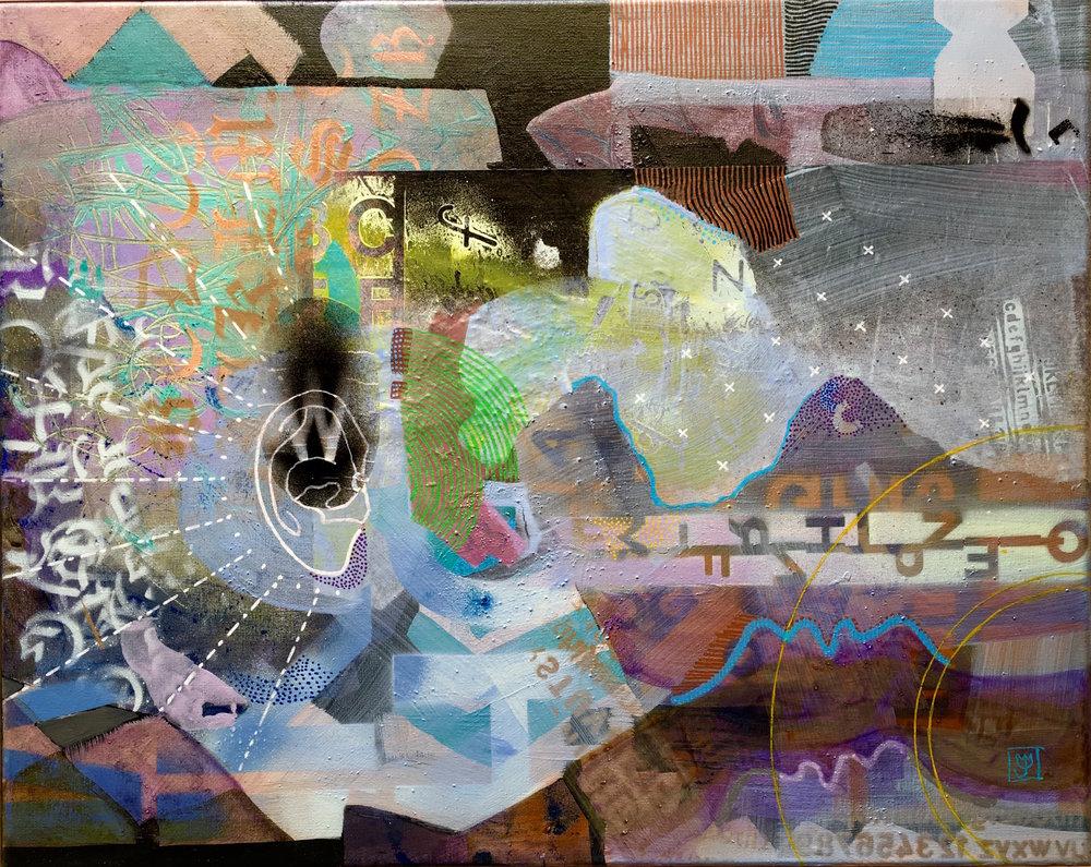 "Speak Listen Milagro: Colliculi  16""x20"" mixed media on canvas | sold"