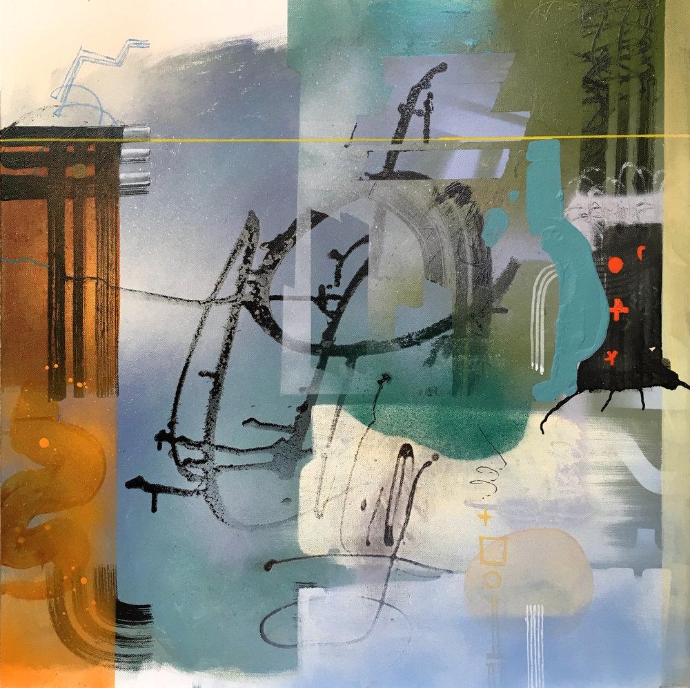 "Coffee in SoHo 24""x24"" acrylic on canvas"