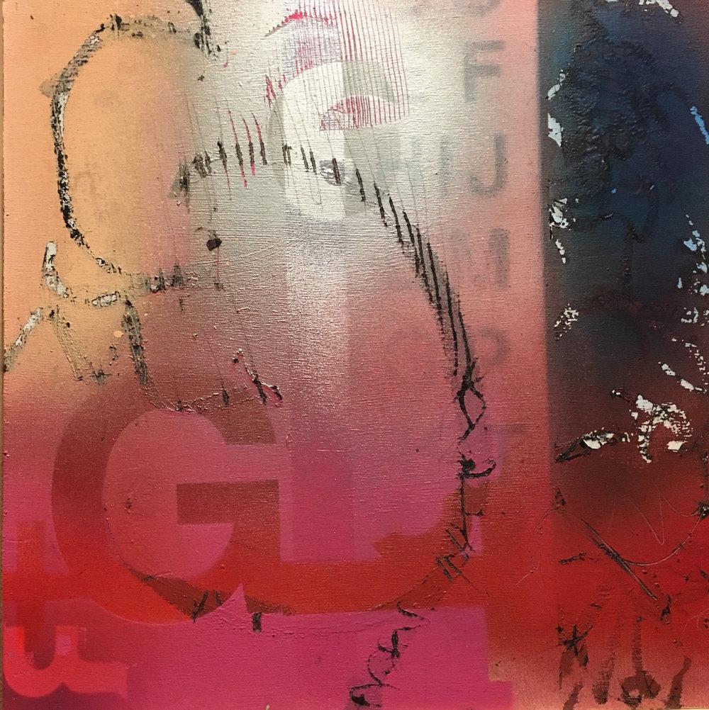 "Glam 12""x12"" mixed media on wood panel"