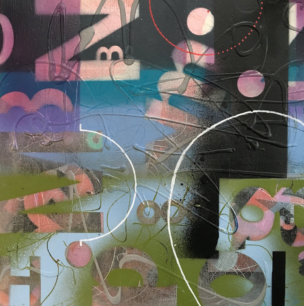 "Wild Berry 12""x 12"" mixed media on wood panel"