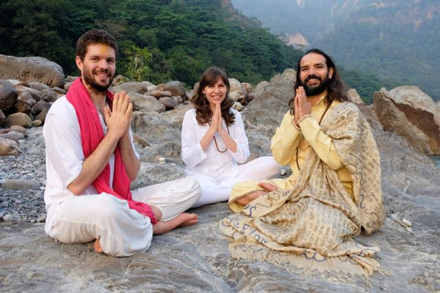 Nick and Radha Bradley with Yogrishi Vishvketu in Rishikesh india