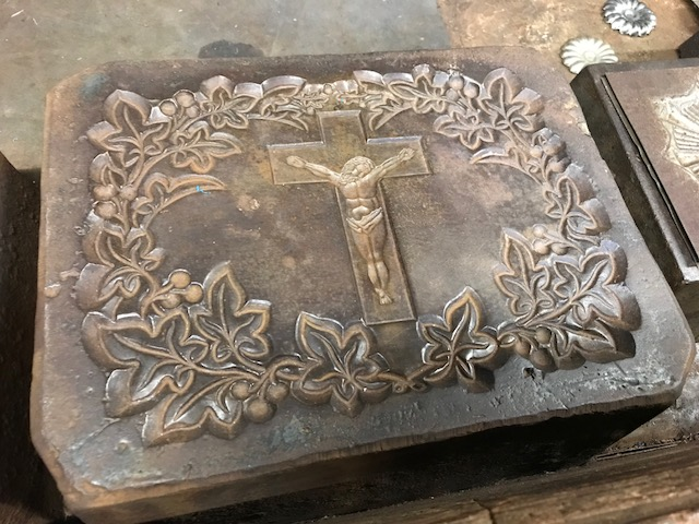 One of many designs ready for stamping onto metal.