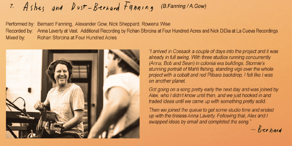 Bernard Fanning's 'Ashes and Dust' - The second song to be released from the upcoming Vast album is a collaboration between Bernard Fanning and Alex Gow (Oh Mercy)