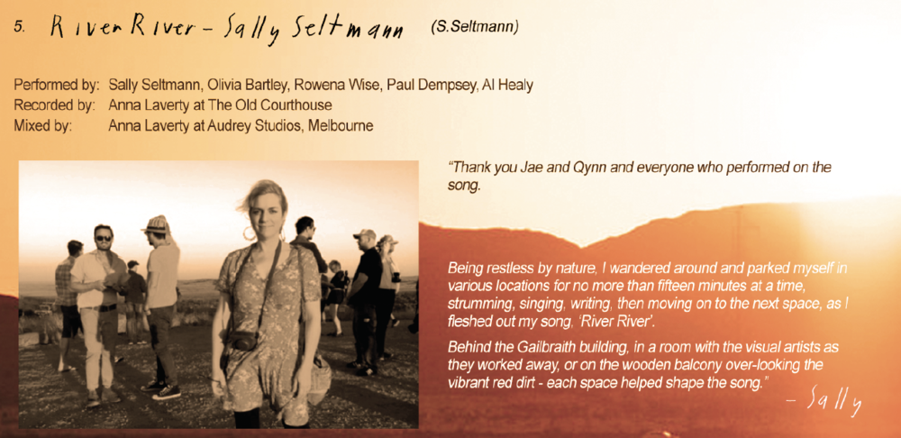 Sally Seltmann's 'River, River' - The sublime song penned by Sally Seltmann on the banks of the river at Cossack (Bajinhurrba) is the latest song from the upcoming Vast Album.
