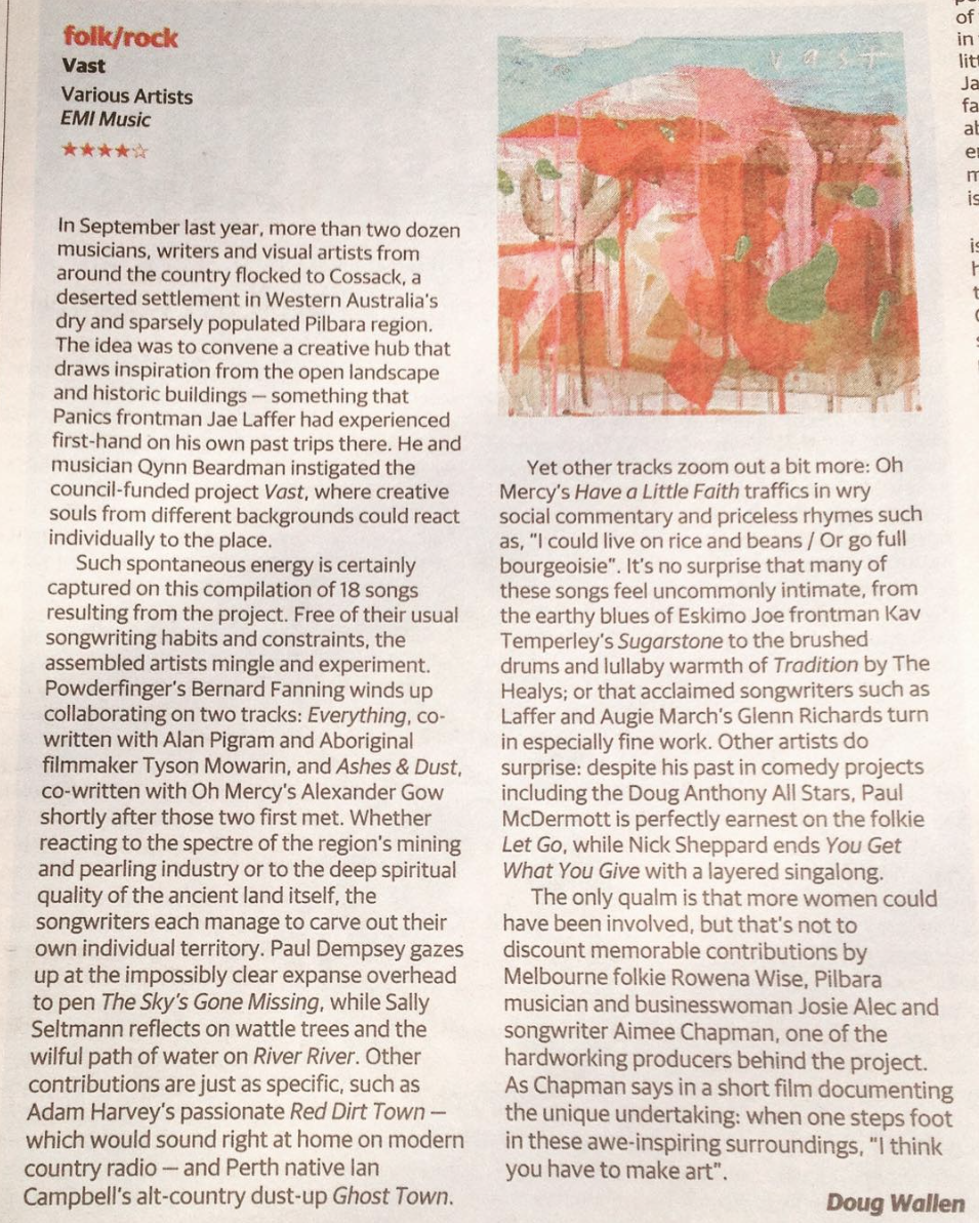 Review | The Australian - Thanks to Doug Wallen for his review on our little album.