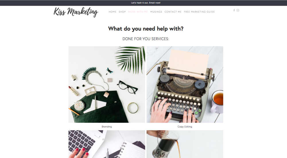 Website template without a header image.