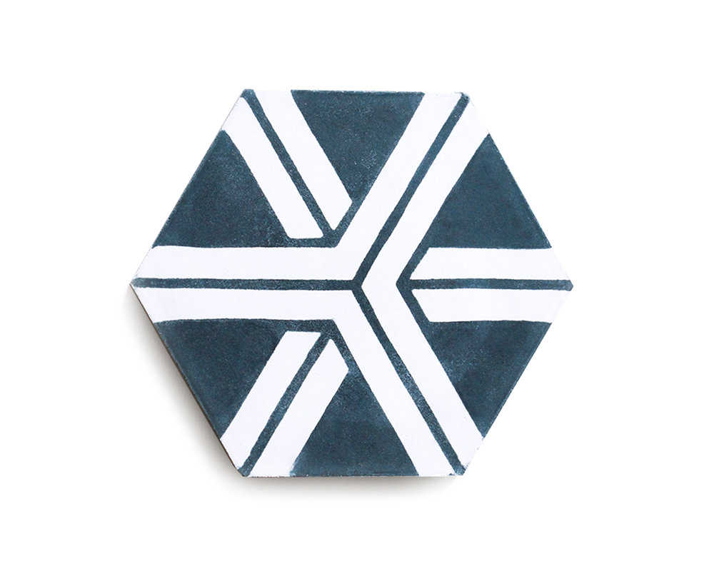 PATTERN HEXAGON; ARROW  (IN STOCK)  Midnight/Bone | R70/tile or R1205/box
