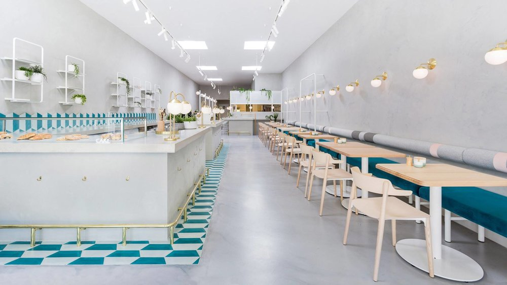 Melbourne Café featuring hand painted tiles by Popham Design