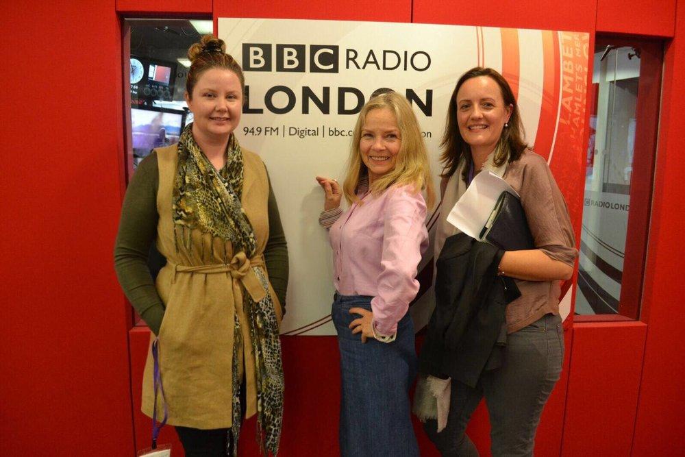 Three girls in BBC studio
