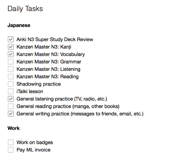 A screenshot from my Evernote to-do list.