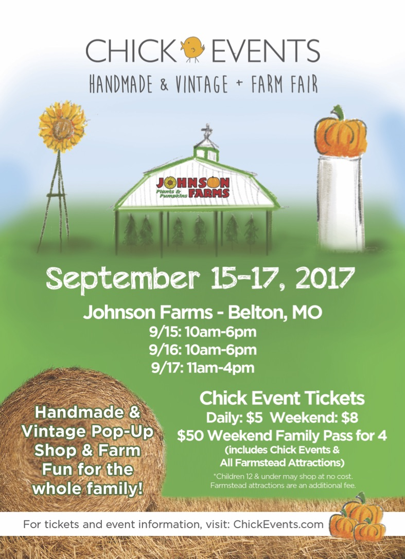 We are excited to be apart of the 2017 Handmade and Vintage  CHICKEVENT  this year.   It is the Final 4 count down until Friday's event and we are so excited!   Bring your family and come out for fun at the  Johnson Farms in Belton, MO .   9/15: 10am-6pm 9/16: 10am-6pm 9/17: 11am-4pm  TICKETS General Admission: $5, Weekend Pass: $8, 12 & under: Free  We hope to see everyone there and meet some sweet new friends. We will have all of your favorite spa products, including our lavender oils and tea blends. Enjoy a cup of our tea for $3.50. It will warm your tummy as you visit over 100 handmade & vintage local & regional vendors, enjoy live music, farm kids activities, locally grown mums from Johnson Farms, food & more!  See you there! Bring your friends and family and Stop by our Booth #2.  Mention our Blog and receive a lavender mint lip balm on us.   From your friends at Sweet Streams Lavender Co,  Joe and Christina