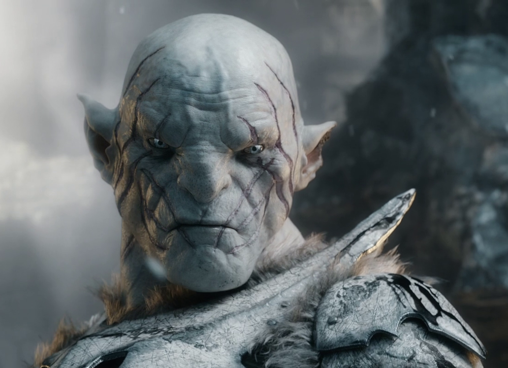 Manu Bennett as (Azog) in The Hobbit: Photo by Courtesy of Warner Bros. Picture - © 2014 Warner Bros. Photo source  here .