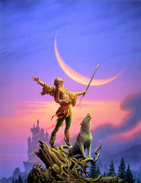 Cover art by Michael Whelan for the US edition of 'Royal Assassin', book 2 of the 'Farseer Trilogy' by Robin Hobb.