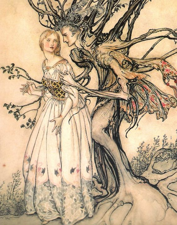 Megalithic Poems: The Old Woman in the Wood from Little Brother and Little Sister by the Brothers Grimm. Pen and ink and watercolour by Arthur Rackham