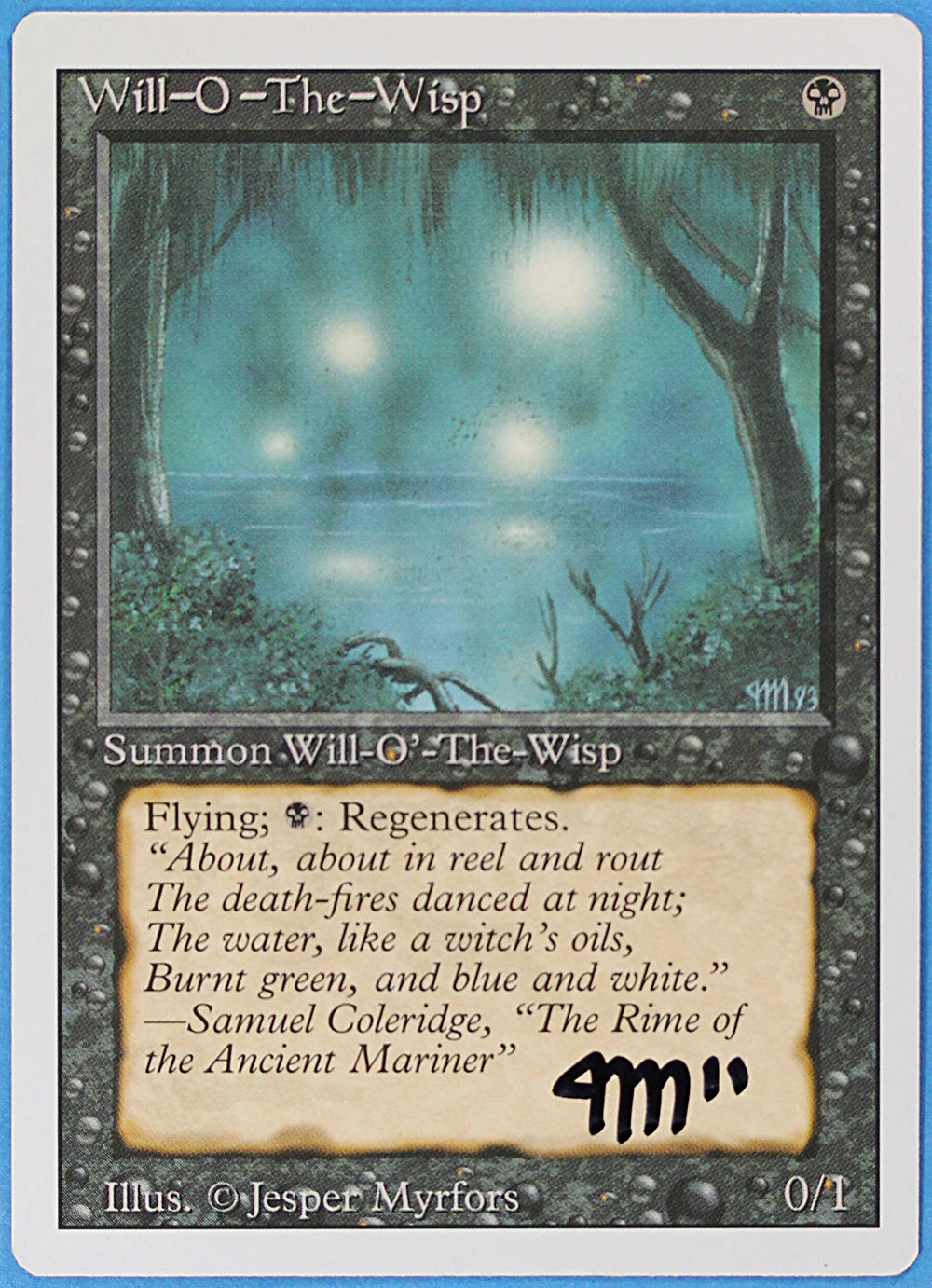 Will-O'- The Wisp Card from Magic  the Gathering, Signed by Jesper Myrfors