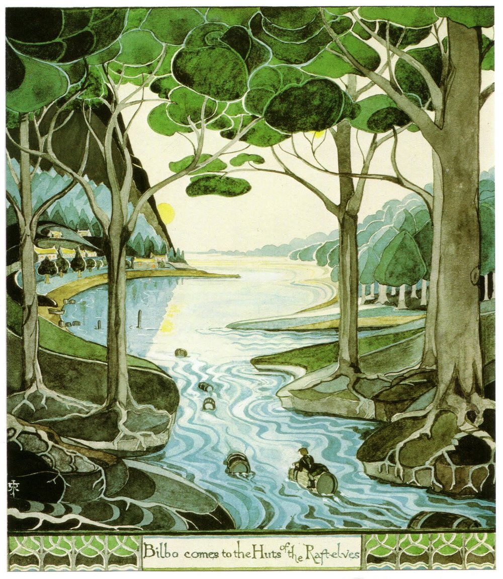 Bilbo comes to the Huts of the Raft-elves by J.R.R. Tolkien