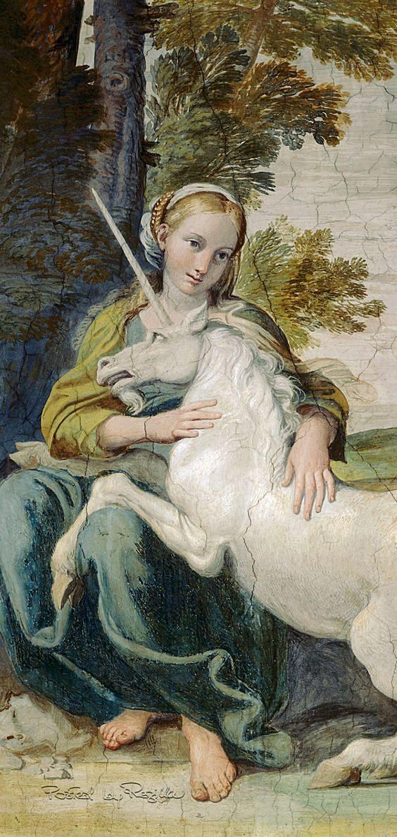 Regilla ⚜ Domenico Zampieri, Girl with a Unicorn, c. 1604–05, fresco in Palazzo Farnese, Rome, after a design by Annibale Carracci.