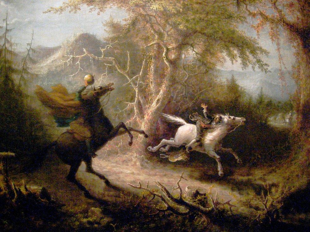 Art by  The Headless Horseman Pursuing Ichabod Crane, by John Quidor