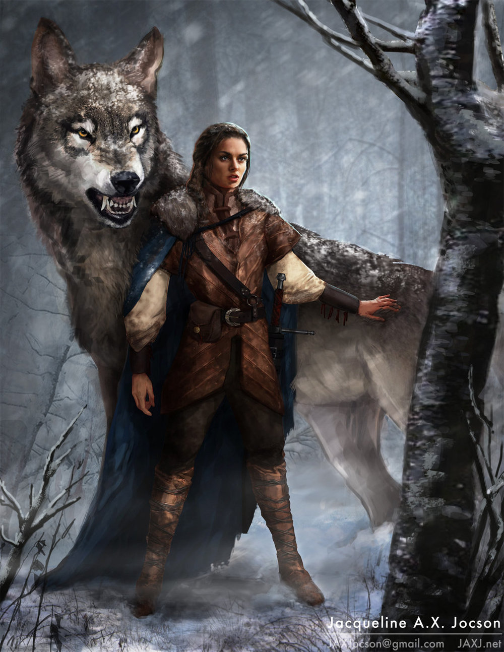 Arya and Nymeria by https://monsterling.deviantart.com/