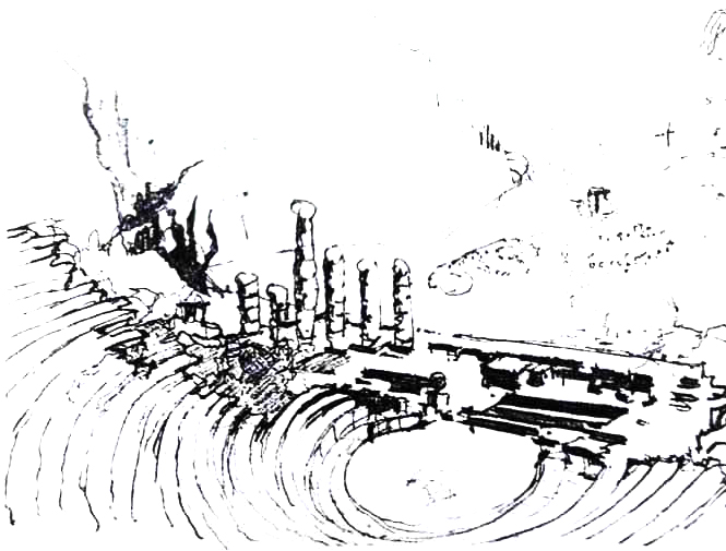 Sketch by Alvar Aalto of Ancient Greek Theater; Pergamon, Turkey