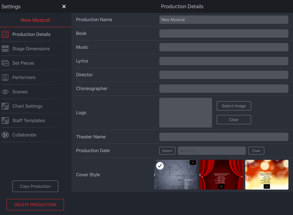 Production Details tab on the Settings menu.