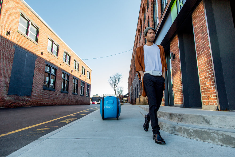 "Gita's robot can carry up to 40 lbs. and will ""learn"" routes by initially following a person and mapping the surroundings to travel that route again autonomously. ( Photo: Gita )"