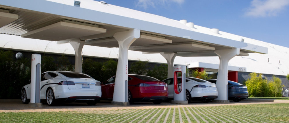 A Tesla Supercharging station set up for Model S autos. The company's electric truck project could also use Supercharging stations, or as some analysts believe, a battery swap program that utilizes the Supercharging station infrastructure. ( Photo: Tesla )