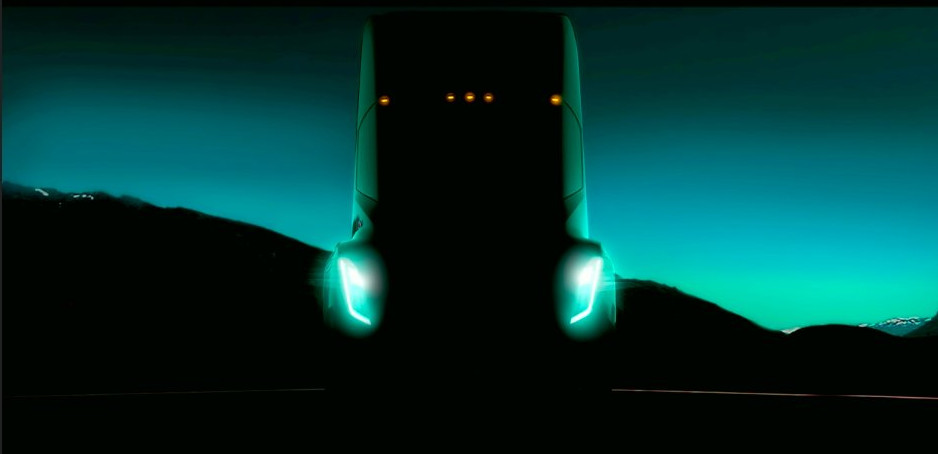 Tesla CEO showed this image of the possible Tesla electric semi truck during a TED Conference in Vancouver on Friday.