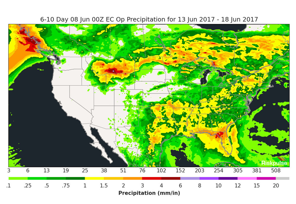 Anticipated rainfall for the United States from June 13-18. ( Graphic: Riskpulse )