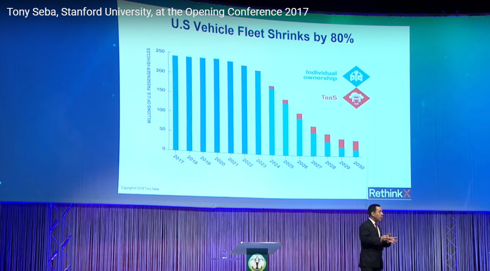 Transportation expert Tony Seba believes that the need for most people to own vehicles will disappear once autonomous, electric vehicles are approved for highway use.